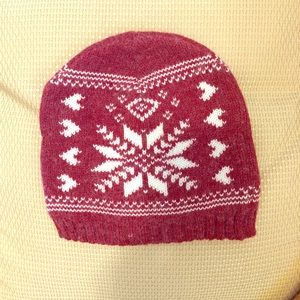 Red and White Angora Snow Flake Hat